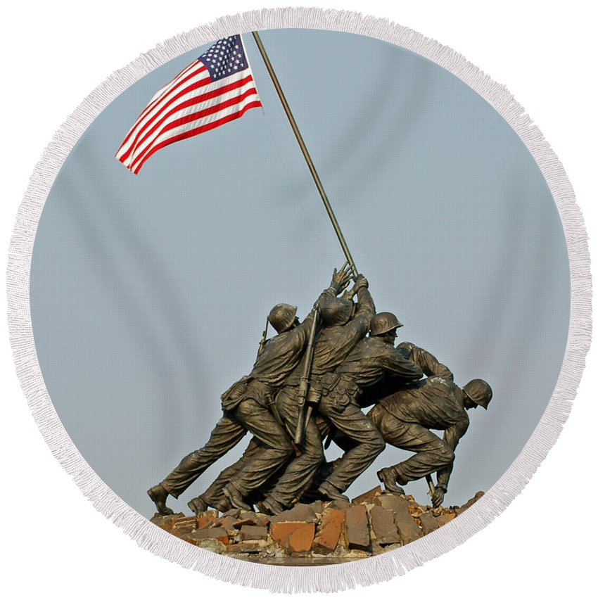 Iwo Round Beach Towel featuring the photograph Iwo Jima Memorial by Stephen Whalen