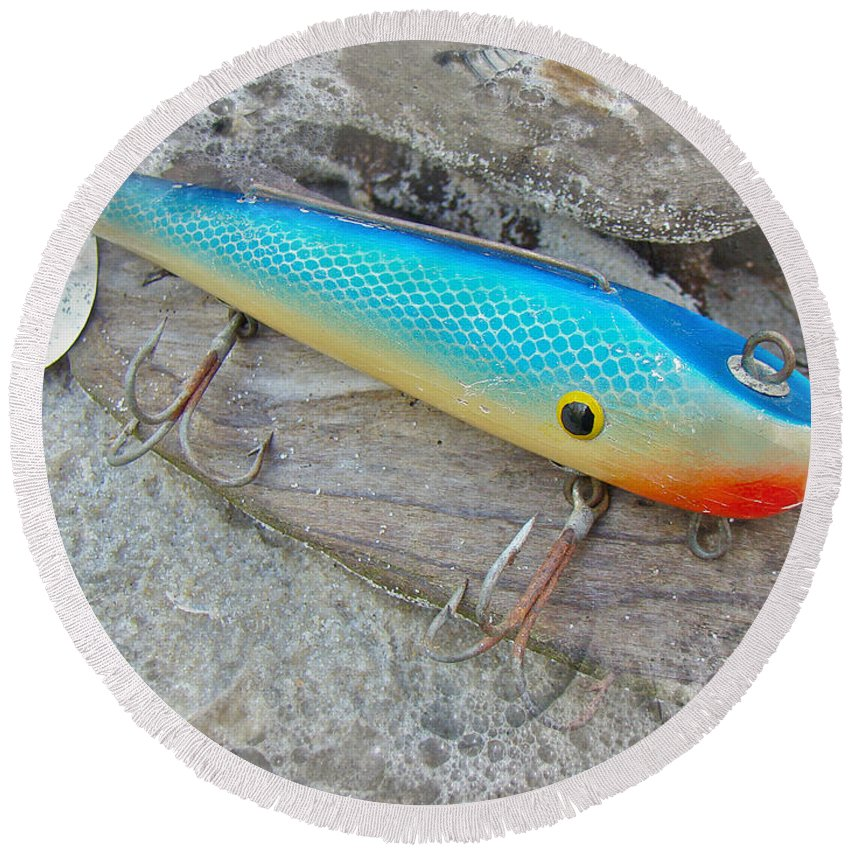 J And J Round Beach Towel featuring the photograph J And J Flop Tail Vintage Saltwater Fishing Lure - Blue by Mother Nature