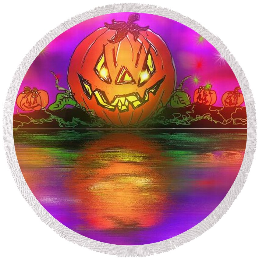 Halloween Round Beach Towel featuring the painting Jack And Friends By The Waters Edge by George Pedro