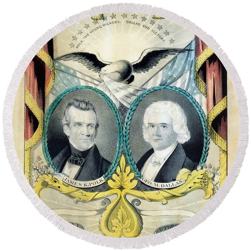 1844 Round Beach Towel featuring the photograph James K Polk: Campaign, 1844 by Granger