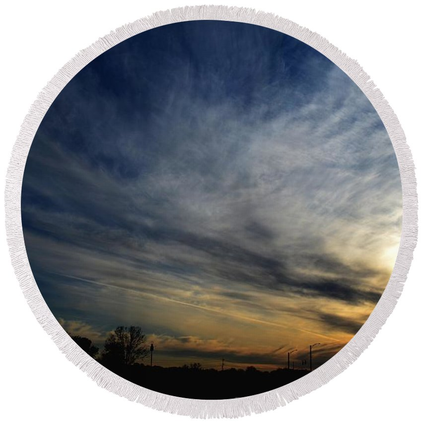 Sunset Round Beach Towel featuring the photograph January Sunset 2012 by Maria Urso