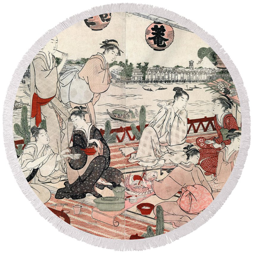 1786 Round Beach Towel featuring the photograph Japan: Restaurant, C1786 by Granger