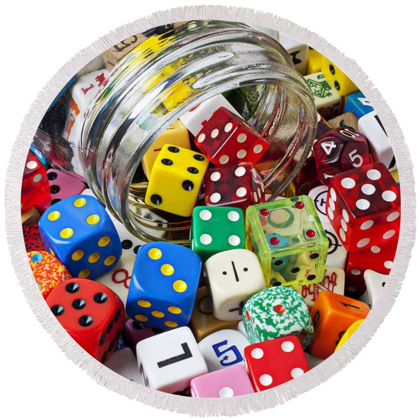 Jar Dice Games Play Numbers Gamble Round Beach Towel featuring the photograph Jar Spilling Dice by Garry Gay