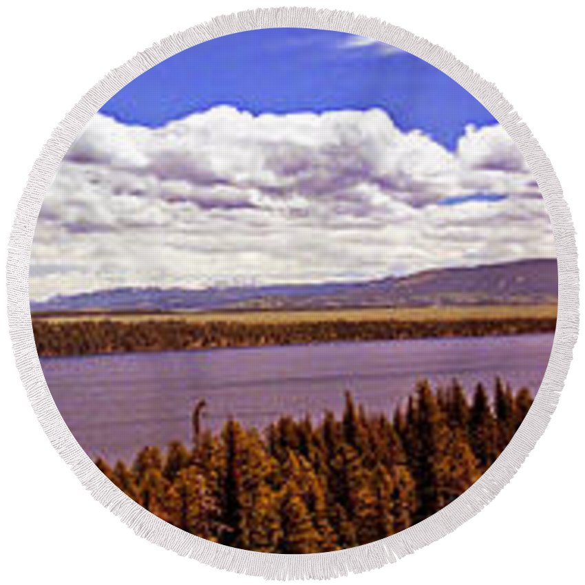 Wyoming Round Beach Towel featuring the photograph Jenny Lake Panorama by Rich Walter