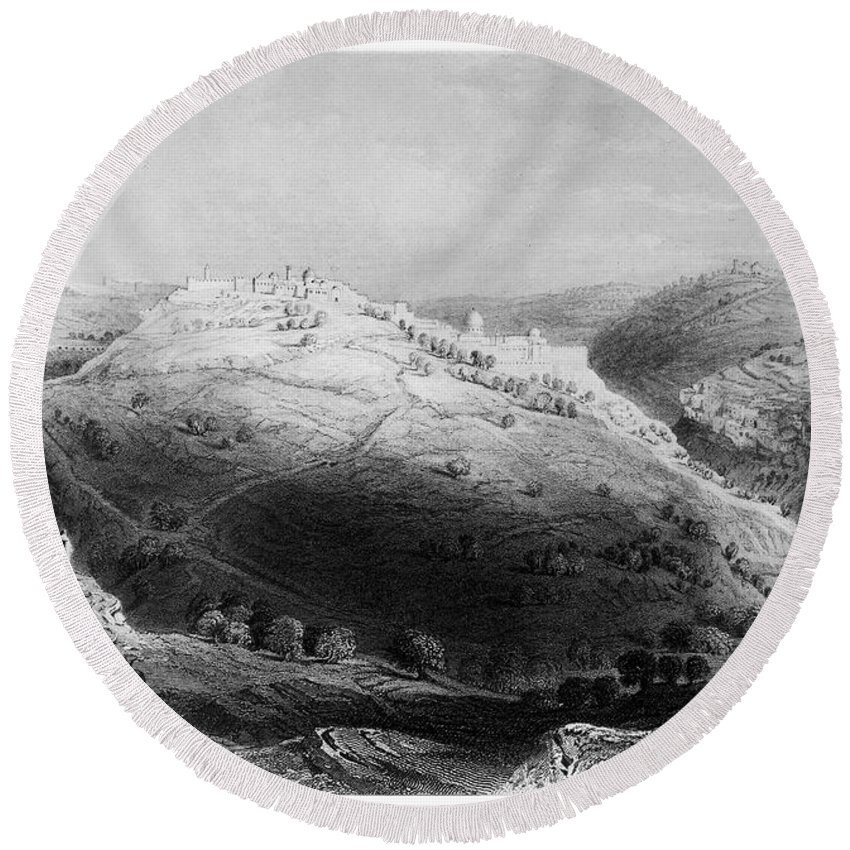 1843 Round Beach Towel featuring the photograph Jerusalem: Mount Zion by Granger