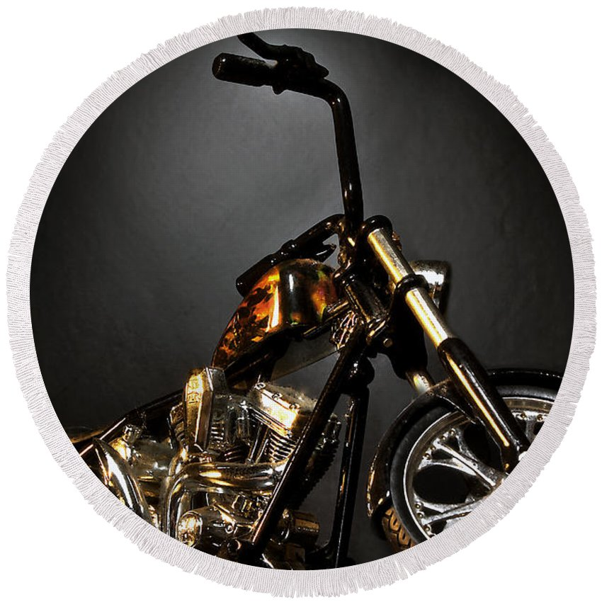 Round Beach Towel featuring the photograph Jesse James Bike 2 Detroit MI by Nicholas Grunas