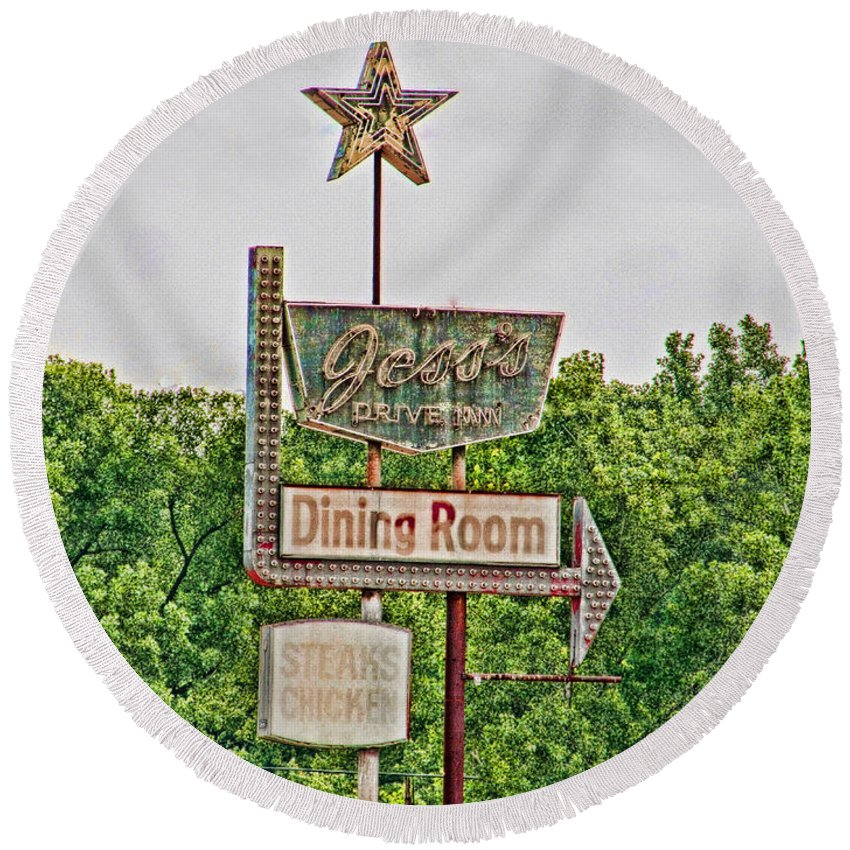 For In For On Purchasing Or Customizing On Any Of My Works Round Beach Towel featuring the photograph Jess's Drive Inn by Debbie Portwood