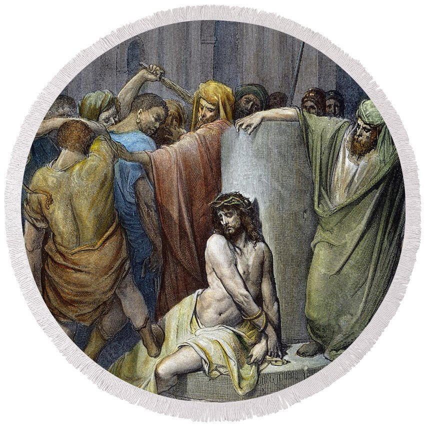 Beating Round Beach Towel featuring the drawing Scourging Of Jesus by Gustave Dore