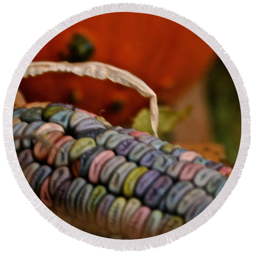 Outdoors Round Beach Towel featuring the photograph Jewel Tone Kernels by Susan Herber