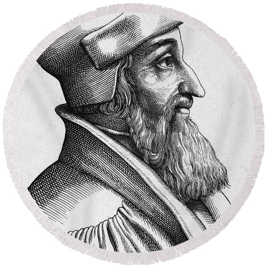 16th Century Round Beach Towel featuring the photograph Johannes Oecolampadius by Granger