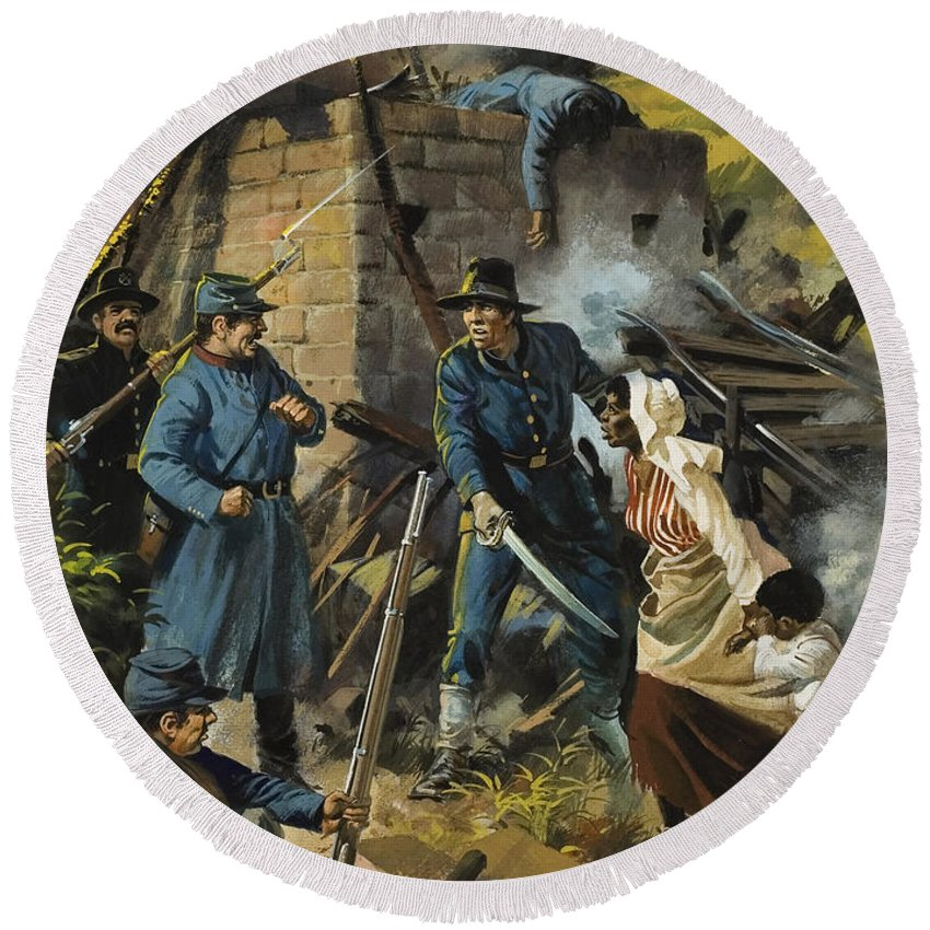 Abolitionist Round Beach Towel featuring the painting John Brown On 30 August 1856 Intercepting A Body Of Pro-slavery Men by Andrew Howart