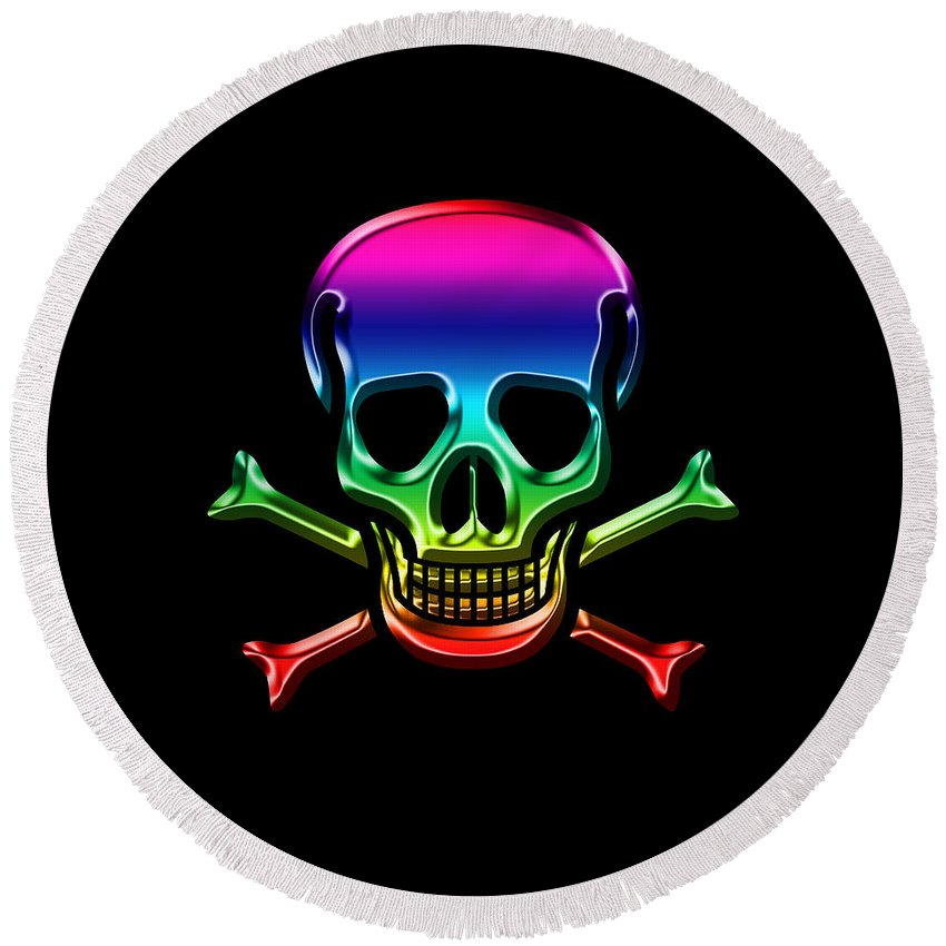 Skull Round Beach Towel featuring the digital art Jolly Roger Rainbow by Andrew Fare