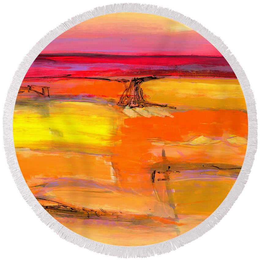 Abstract Round Beach Towel featuring the painting Journey One by Lynne Taetzsch