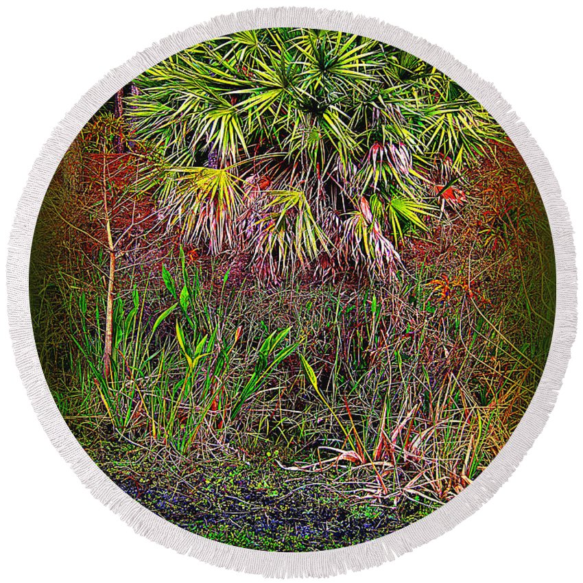 Florida Round Beach Towel featuring the photograph Jungle Palm by Susanne Van Hulst