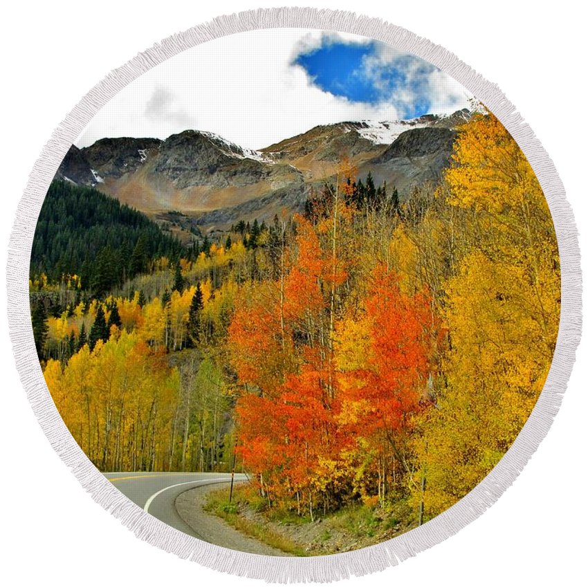 Fall Colors Round Beach Towel featuring the photograph Just Around The Bend by Marilyn Smith
