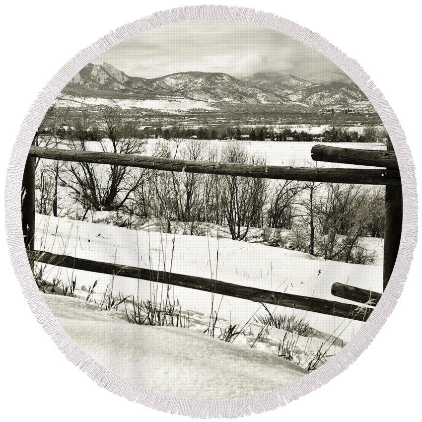 Boulder Round Beach Towel featuring the photograph Just Beyond The Fence 1 by Marilyn Hunt