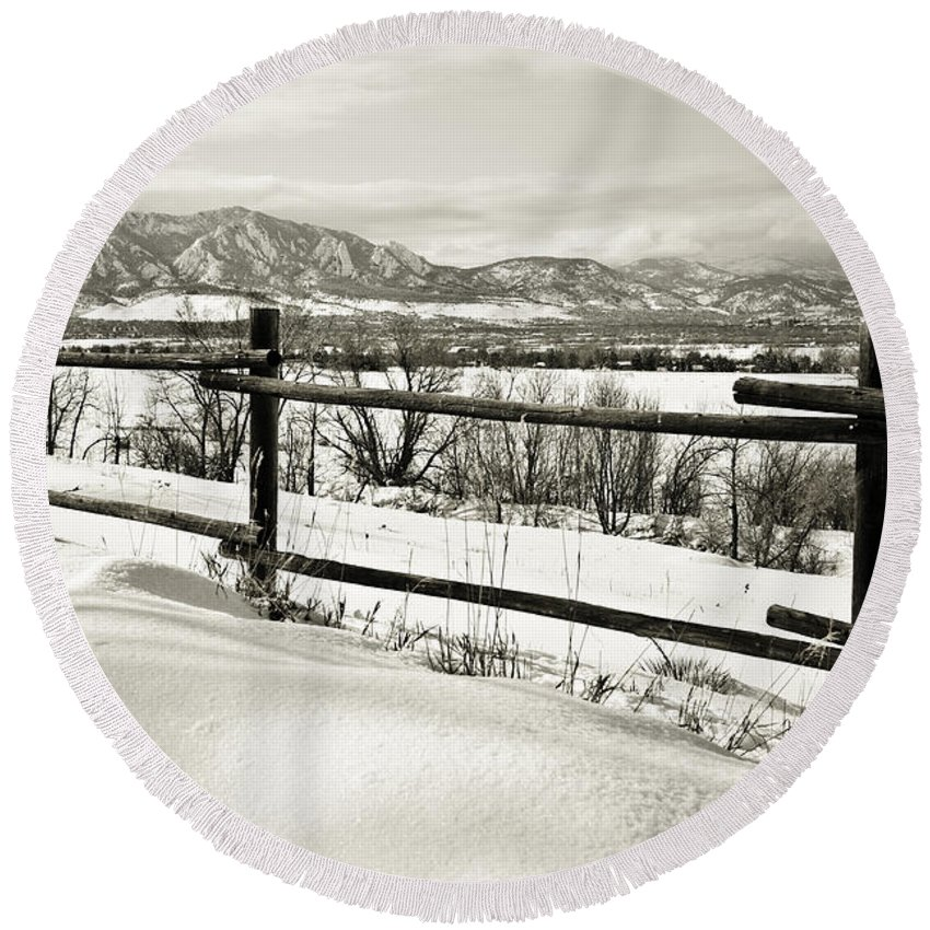 Boulder Round Beach Towel featuring the photograph Just Beyond The Fence 2 by Marilyn Hunt