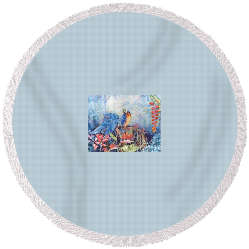 Bird Round Beach Towel featuring the painting Just Dropping By... by Deborah Younglao