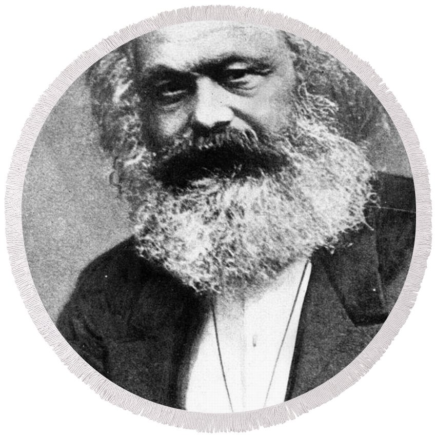 Karl Marx (photogravure)karl Marx (1818-93) Round Beach Towel featuring the painting Karl Marx by Unknown