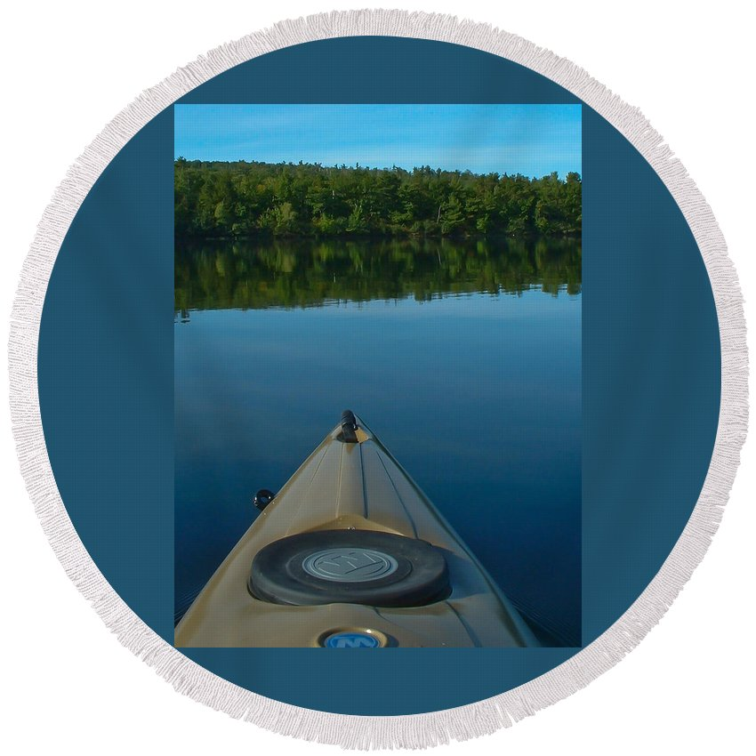 Lakes Round Beach Towel featuring the photograph Kayaking Range Ponds 0003 by Guy Whiteley