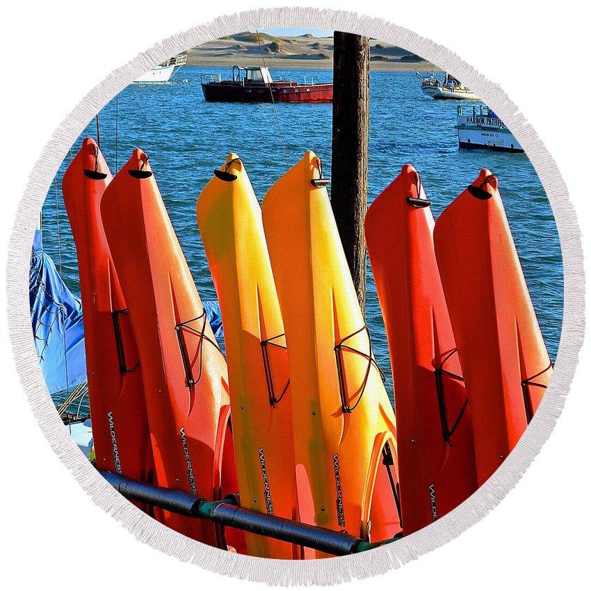 Kayak Round Beach Towel featuring the photograph kayaks II by Bill Owen