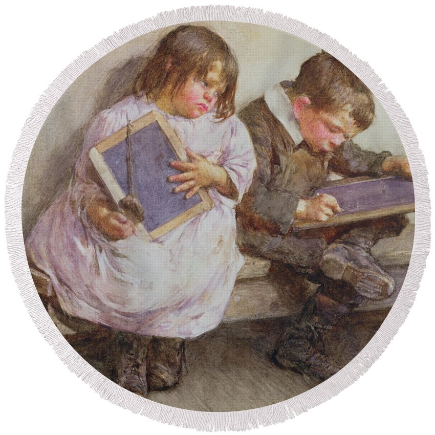Children; Pupil; Student; Slate; Writing Tablet; Detention; Naughty Round Beach Towel featuring the painting Kept In by John Henry Henshall