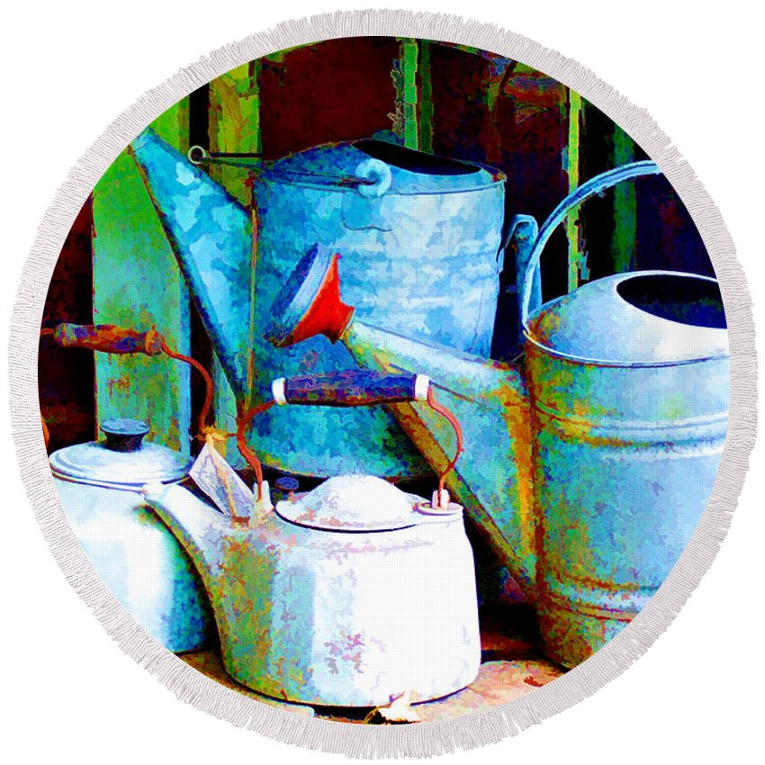Round Beach Towel featuring the painting Kettles And Cans To Water The Garden by Elaine Plesser