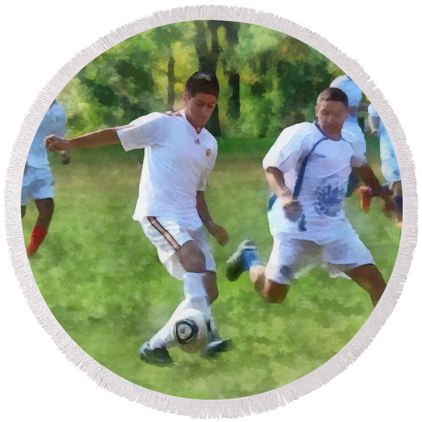 Outdoors Round Beach Towel featuring the photograph Kicking Soccer Ball by Susan Savad