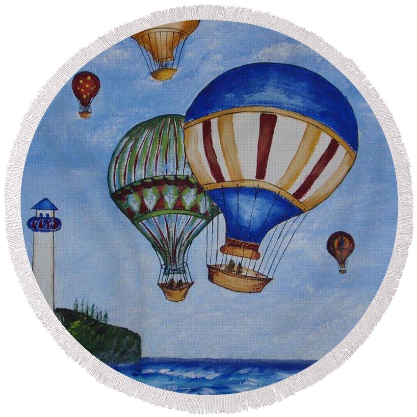 Painting Round Beach Towel featuring the painting Kid's Art- Balloon Ride by Tatjana Popovska