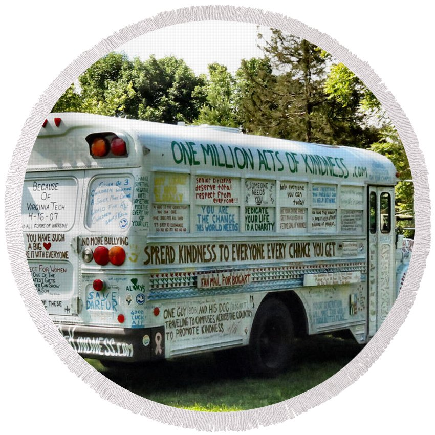 One Round Beach Towel featuring the photograph Kindness Bus 2 by Art Dingo