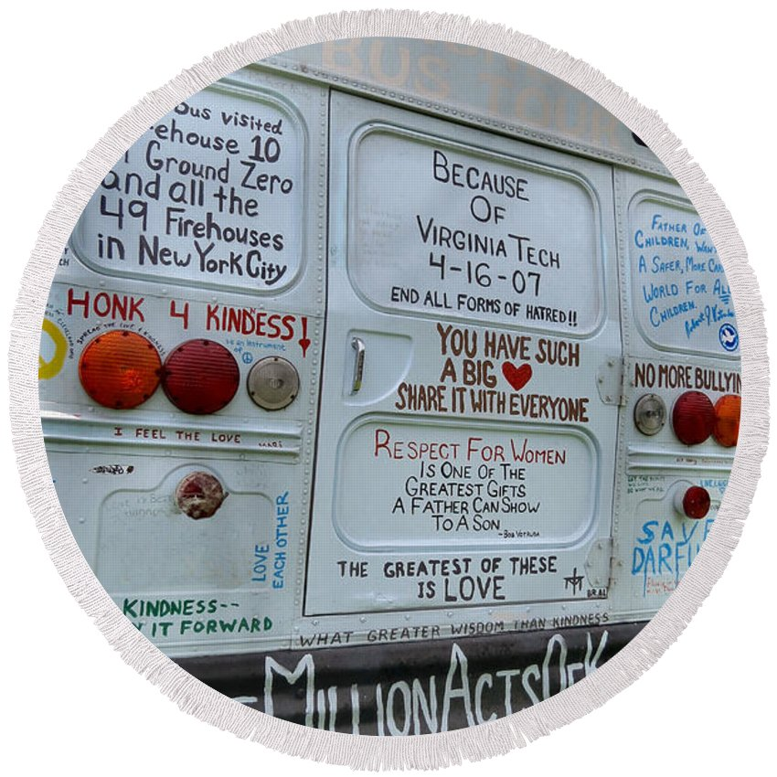 One Round Beach Towel featuring the photograph Kindness Bus 3 by Art Dingo