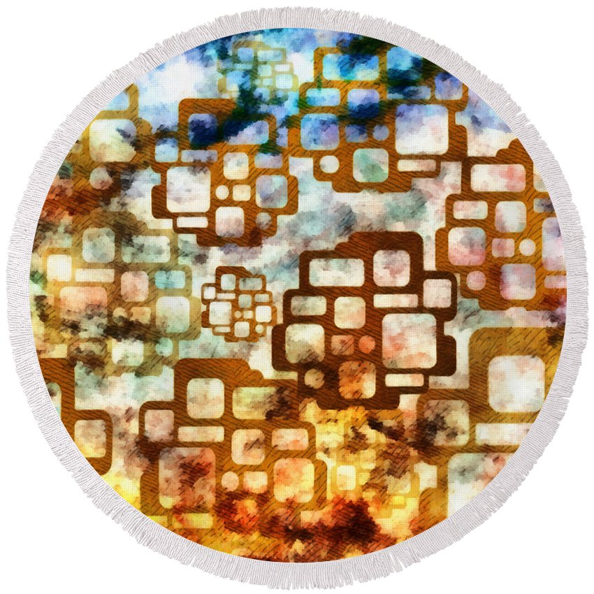 Digital Round Beach Towel featuring the mixed media Knowledge Is Not Wisdom 1 by Angelina Vick
