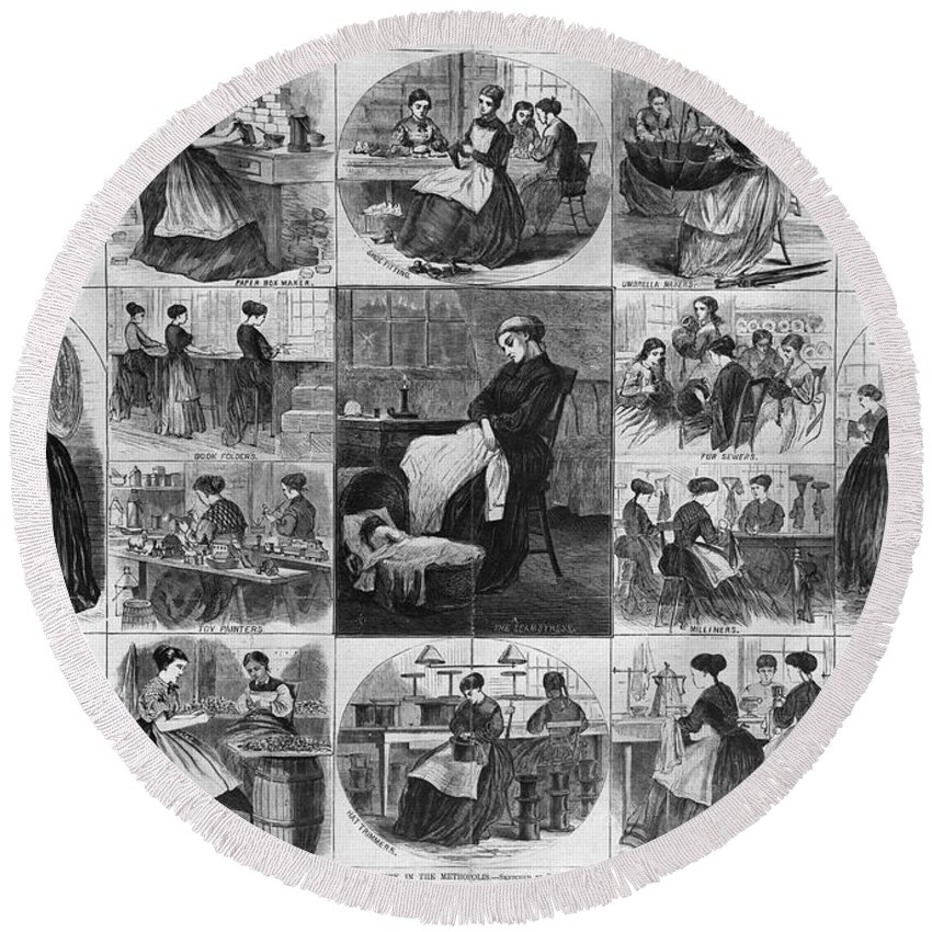 1868 Round Beach Towel featuring the photograph Labor: Women, 1868 by Granger