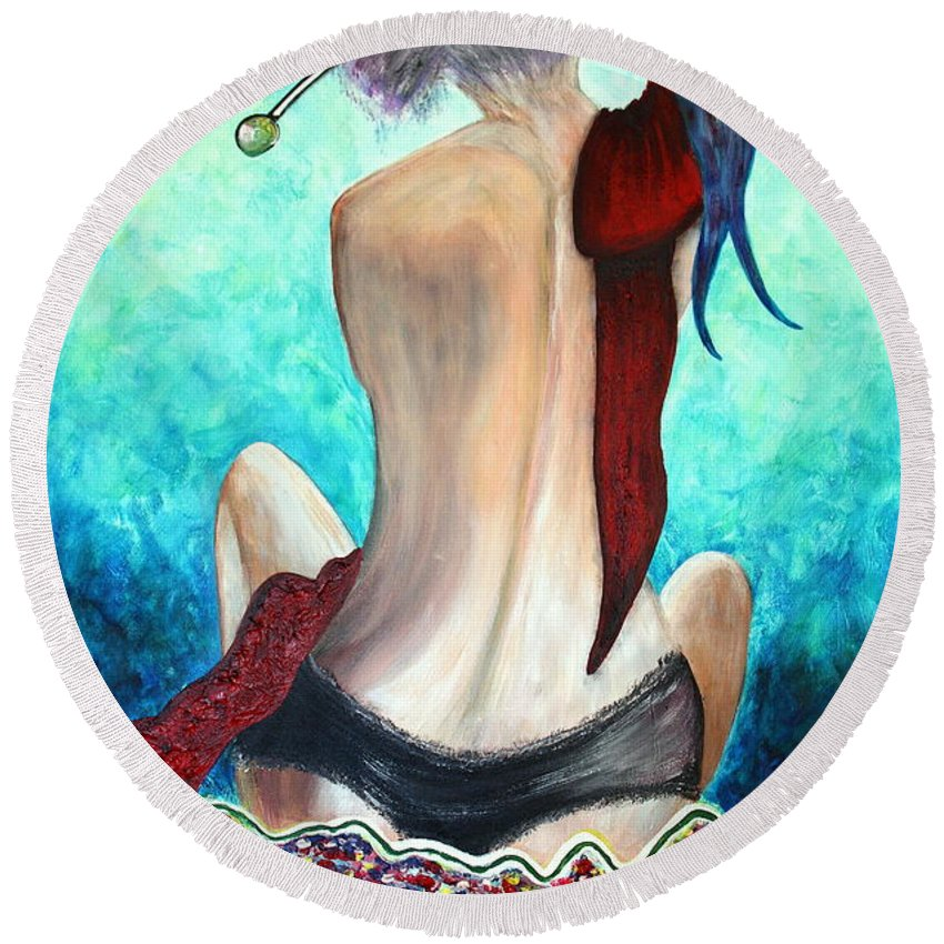 Passion Round Beach Towel featuring the painting Lady In Red by Jolanta Anna Karolska
