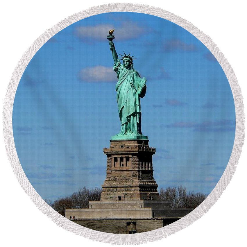 Statue Of Liberty Round Beach Towel featuring the photograph Lady Liberty by Eric Tressler