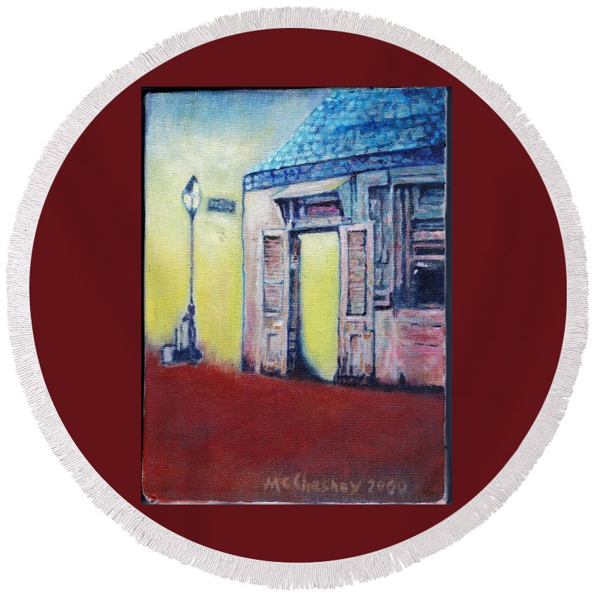 Street Scene New Orleans French Quarter Print Of An Oil Painting Round Beach Towel featuring the painting Lafitte's Blacksmith Shop From The Shortside by Charles McChesney