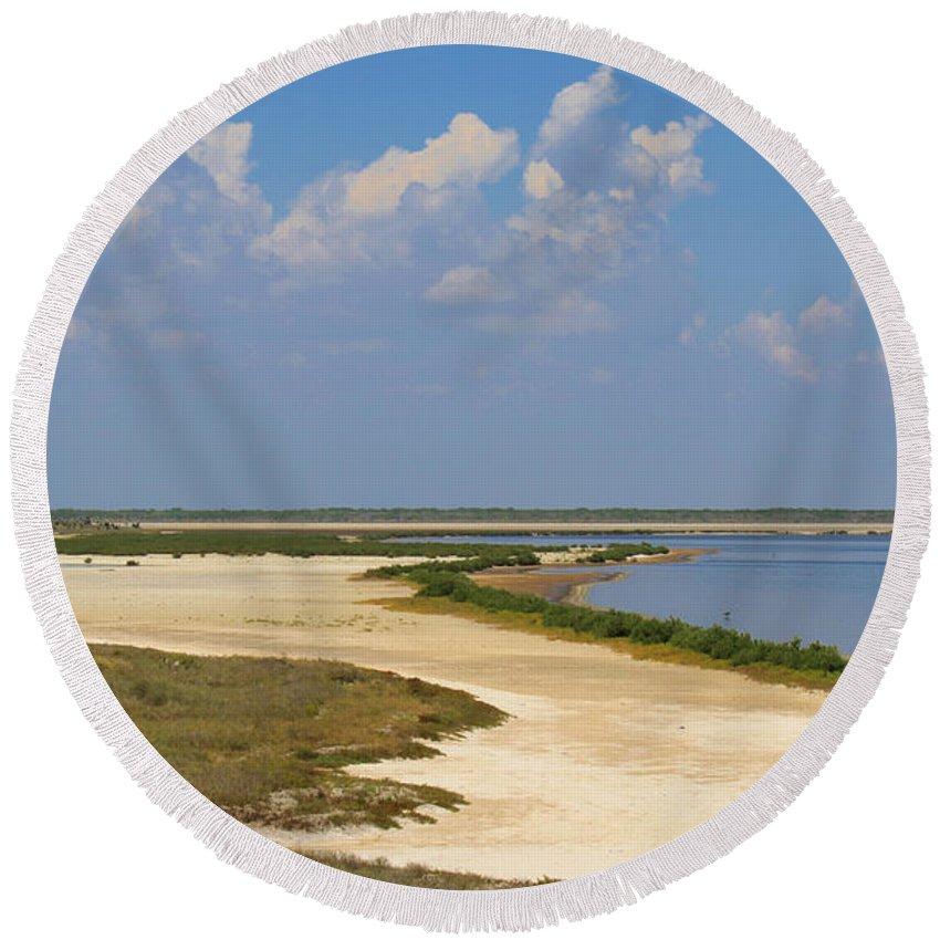 Roena King Round Beach Towel featuring the photograph Laguna Madre At Laguna Atascosa by Roena King