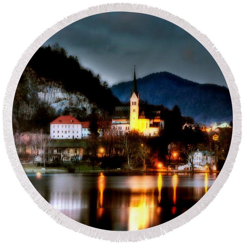 Slovenia Round Beach Towel featuring the photograph Lake Bled. Church. Slovenia by Juan Carlos Ferro Duque