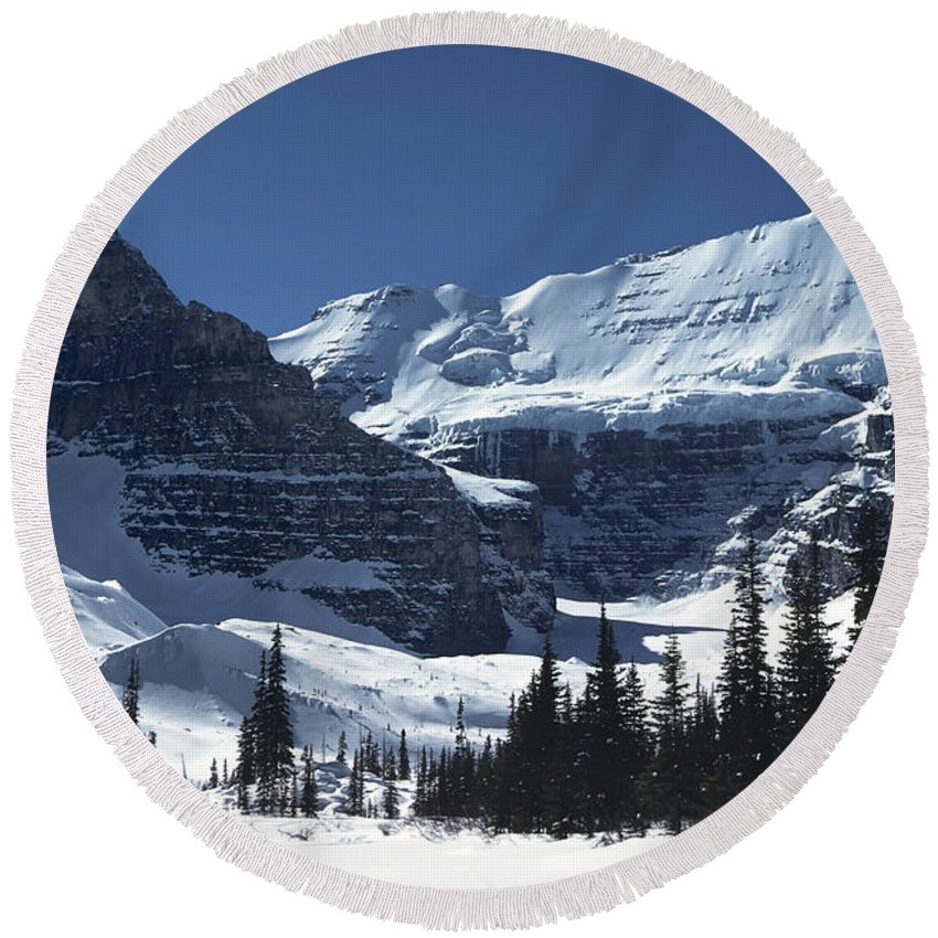 Alberta Round Beach Towel featuring the photograph Lake Louise Glacier by Roderick Bley