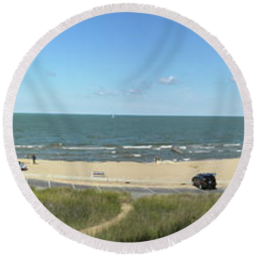 Lake Michigan Round Beach Towel featuring the photograph Lake Michigan From The Michigan State Side by Thomas Woolworth