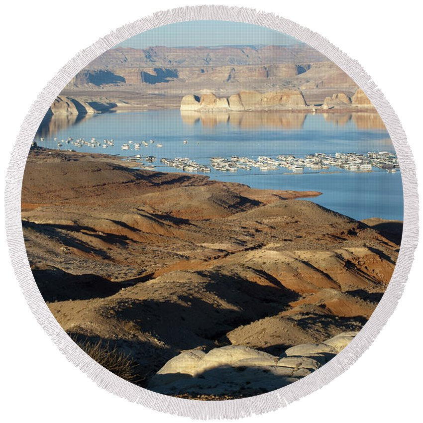 Sandra Bronstein Round Beach Towel featuring the photograph Lake Powell Evening by Sandra Bronstein