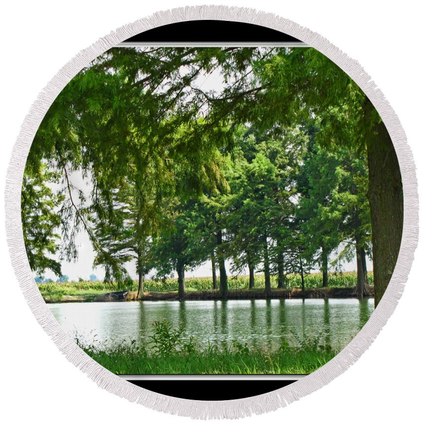Round Beach Towel featuring the photograph Lake Reflections by Debbie Portwood