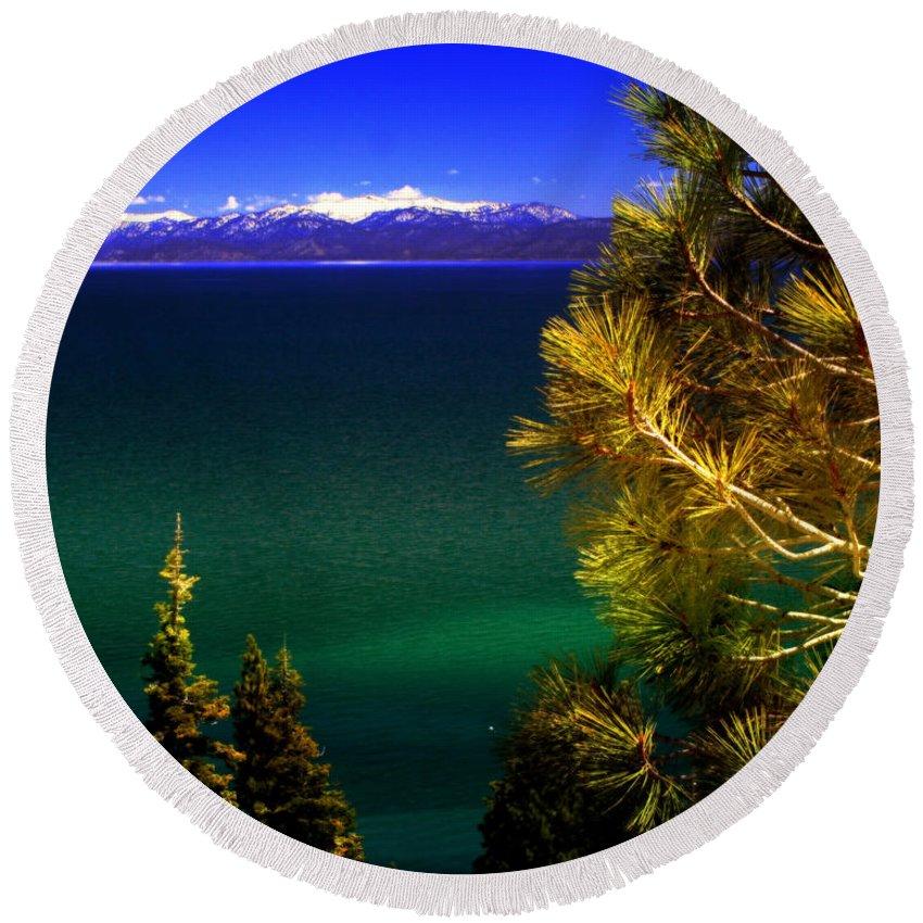 Lake Tahoe Round Beach Towel featuring the photograph Lake Tahoe Vista by Ellen Heaverlo