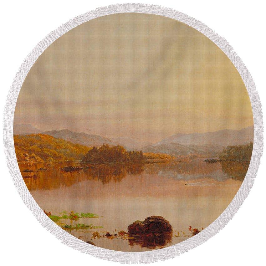 Lake Wawayanda Round Beach Towel featuring the painting Lake Wawayanda by Jasper Francis Cropsey