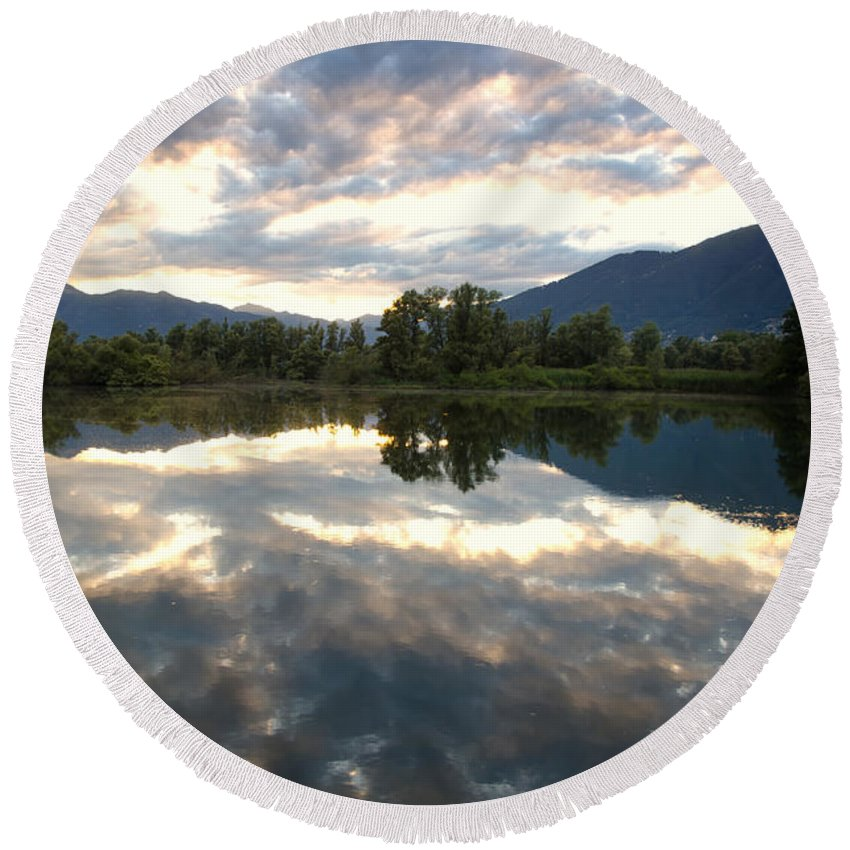 Lake Round Beach Towel featuring the photograph Lake With Clouds by Mats Silvan