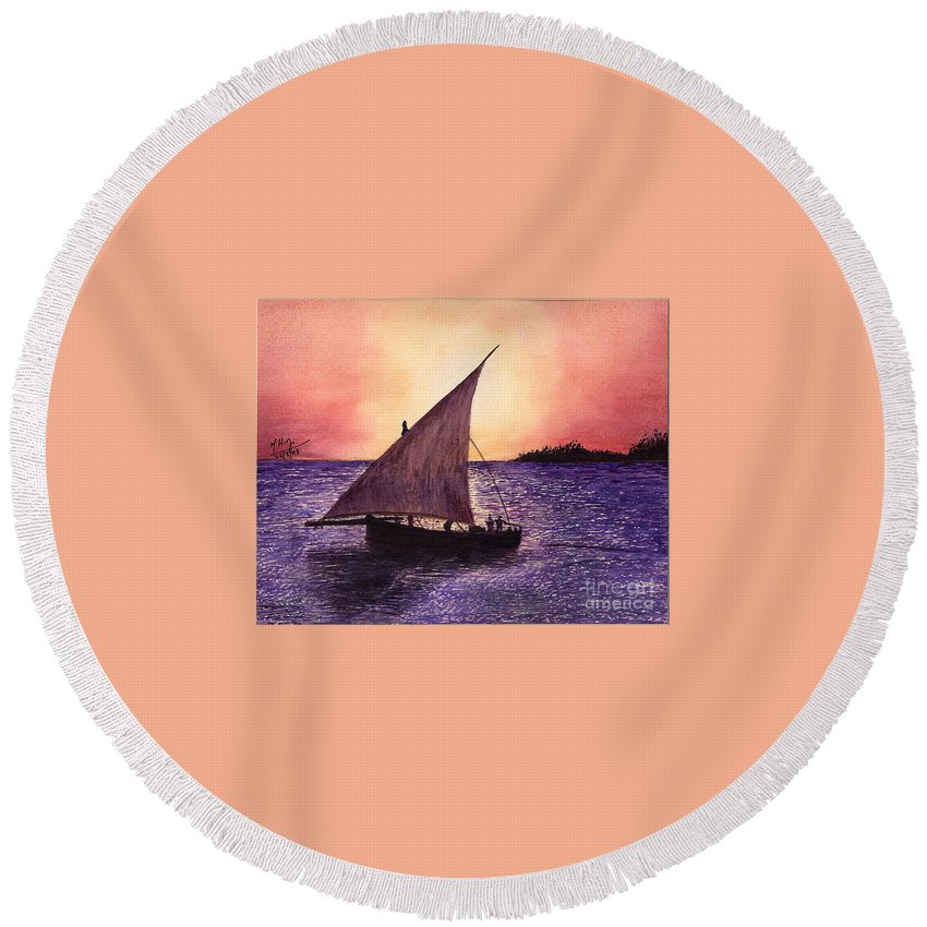 Dhow Round Beach Towel featuring the painting Lamu Kenya by Mohamed Hirji