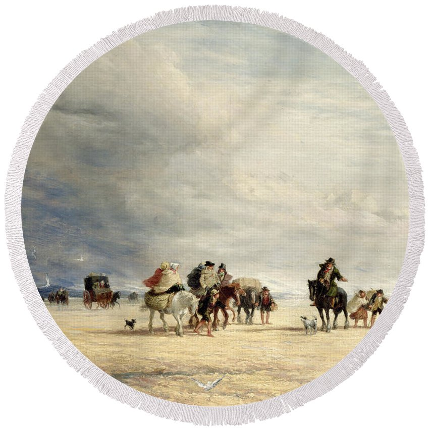 Lancaster Sands Round Beach Towel featuring the painting Lancaster Sands by David Cox