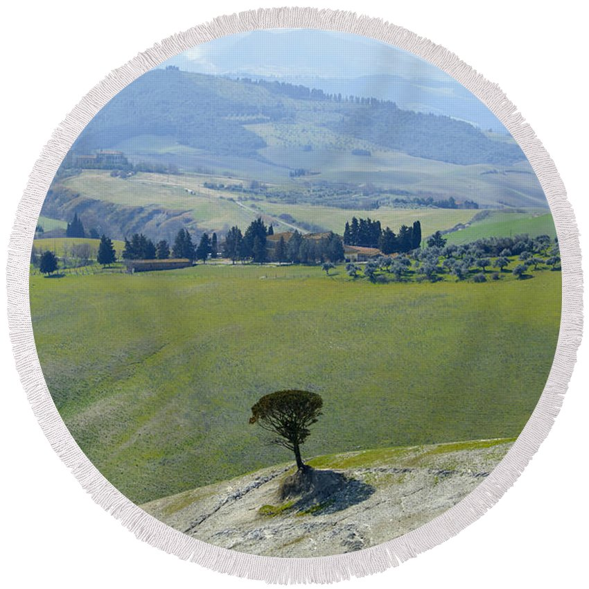 Trees Round Beach Towel featuring the photograph Landscape View by Mats Silvan