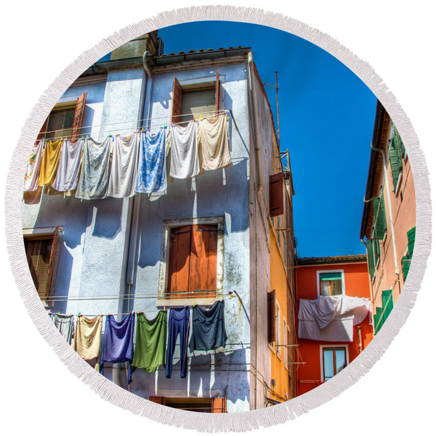 Burano Italy Round Beach Towel featuring the photograph Laundry Day by Jon Berghoff