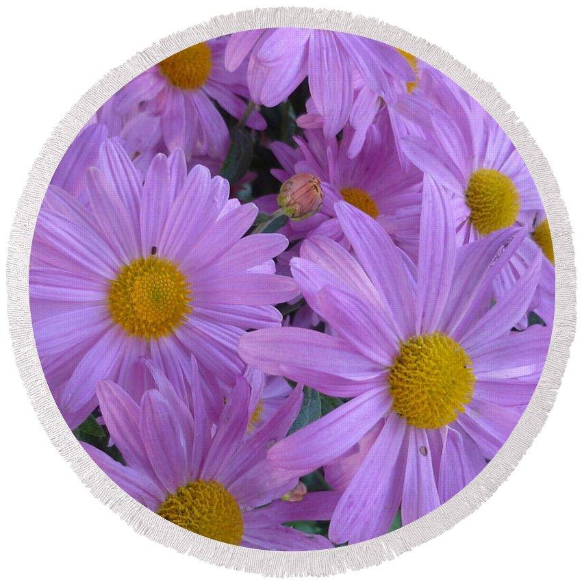 Floral Round Beach Towel featuring the photograph Lavender Mum Bouquets by Lingfai Leung